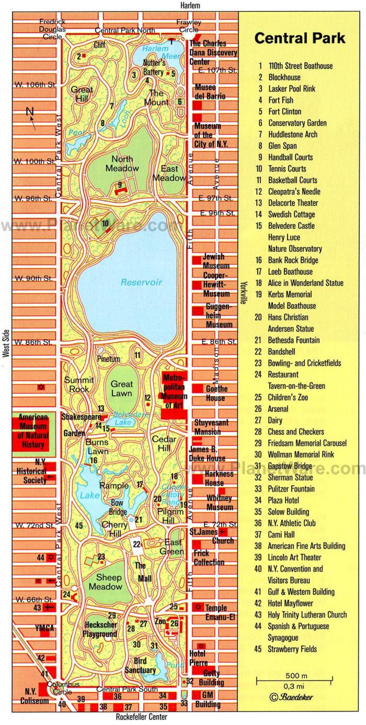 printable mapa central park new york